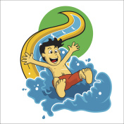 illustration vector children play on water slide