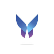 Butterfly colorful logo template with gradient on wings