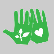 Two hands with plant and heart