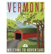 Vermont travel poster or sticker. Vector illustration of scenic covered bridge over stream.