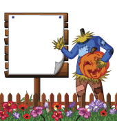 Scarecrow cartoon holding scary pumpkin