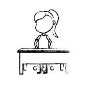 figure girl student sitting in the wood desk
