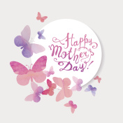Happy Mother's Day! Pink watercolor butterflies