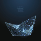 paper boat low poly blue