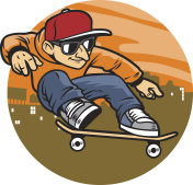 cartoon man doing skateboard jump trick