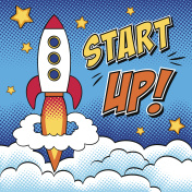 Start up background with a rocket in pop art style