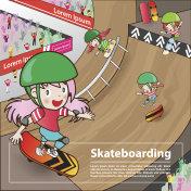 skateboarding sport with girl cartoon character advertising poster