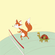 Forest athletes fox and turtle