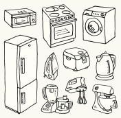 Cartoon hand-drawn household appliances for cooking and cleaning