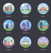 World Cities and Tourism Illustration Set 8
