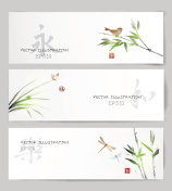 Banners in Japanese style