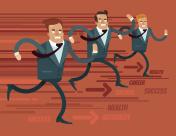 Businessmen characters run race