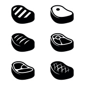 Vector black steak icons set