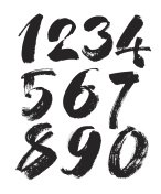 vector set of calligraphic acrylic or ink numbers, brush lettering