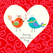Two happy cute bird in love with the heart. Happy Valentine's day Card