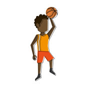 Male basketball player cartoon