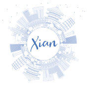 Outline Xian Skyline with Blue Buildings and Copy Space.