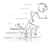 Cartoon of Man Winning the Race Run