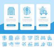 Onboarding app screens of hotel services icons set. Suitable for Interface UI, UX, mobile apps, websites.