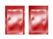 Red empty plastic packaging. Foil or plastic sachet for food or medicines