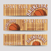 Basketball sport club horizontal banners template