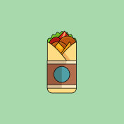 Chickenf Roll  in minimalist style. Vector Illustration, flat de