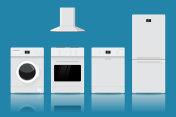 Home appliances. Flat design on blue background