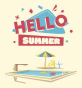 Hello summer. Swimming pool. Cartoon Vector illustration