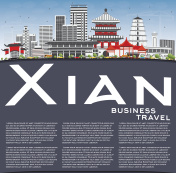 Xian Skyline with Gray Buildings, Blue Sky and Copy Space.