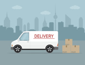 White delivery van on city background.