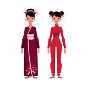 Two Chinese women in traditional national costumes