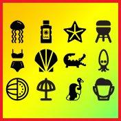 Cartoon squid, seashell and sea jellyfish related icons set