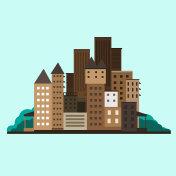 Flat design urban landscape.Vector Illustration