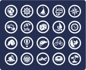 Vector icon set for travel and vacation