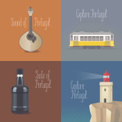 Travel to Portugal concept vector illustrations