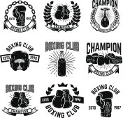 Set of boxing club emblems. boxing gloves.