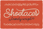 Trendy textured one line handwritten font script named 'Shoelaces'