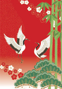 Pine bamboo plum and bird