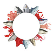 Seafood round banner