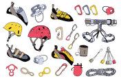 Rock climbing gear big vector collection