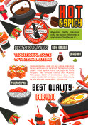 Japanese food restaurant poster with sushi, rice