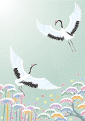 Cranes and pine bamboo plum, auspicious picture of Japan