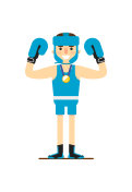 Young smiling boxer win gold medal
