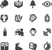 Boxing Silhouette Icons | EPS10