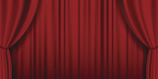 Red theater heavy curtain vector background