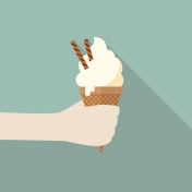 Hand with ice cream cone