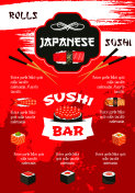 Japanese sushi bar menu poster template design