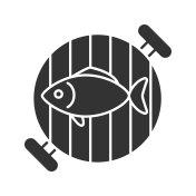 Fish on barbecue grill icon