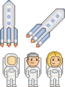 Pixel art astronauts and rockets