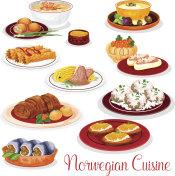 Norwegian cuisine national dishes set